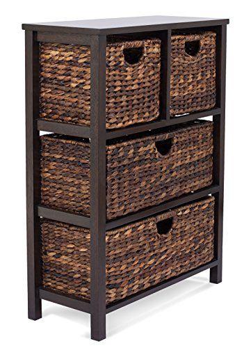 Superbe [Toy Storage Ideas] BirdRock Home Seagrass Cubby Dresser | 4 Drawer Bins |  Decorative Wood Storage Cubbies Shelf Organizer | Industrial Furniture  Chest ...