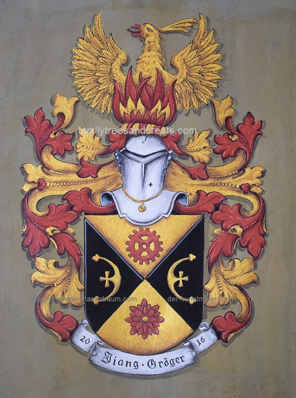 Coat of Arms painting on leather- crest w. phoenix ...
