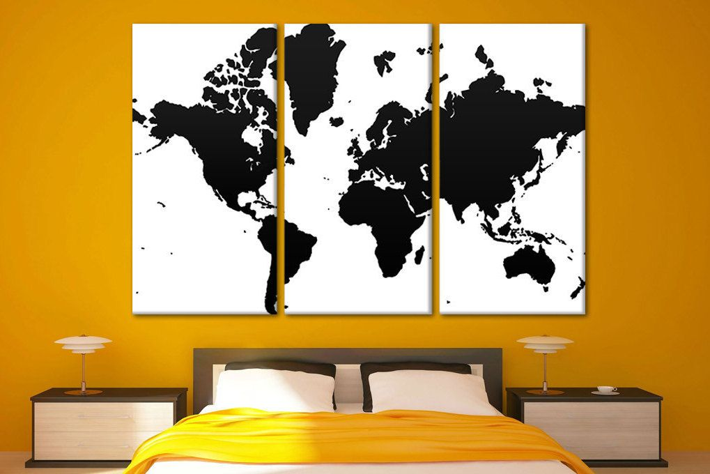 World map for walls Big art canvas Extra large canvas panels World ...