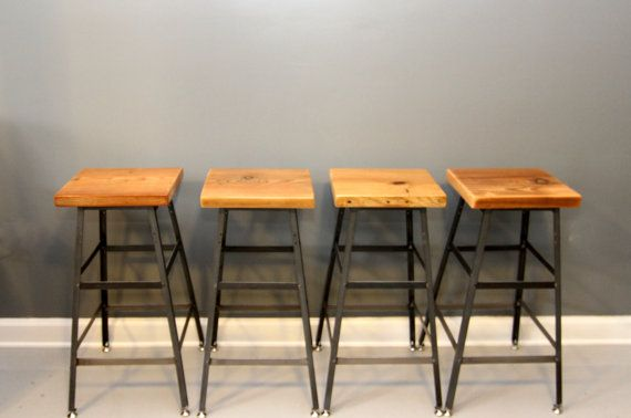 Set Of 4 Stools Reclaimed Wood Industrial Bar Stool By Dendroco