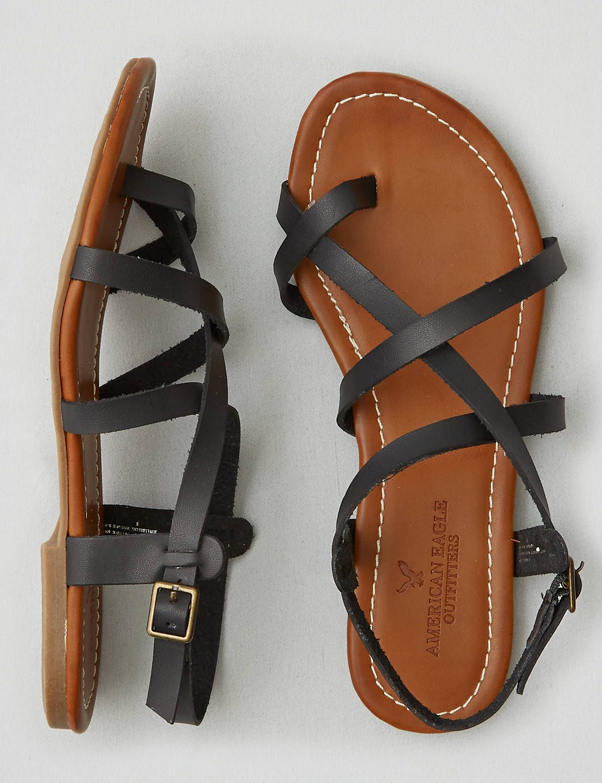 AEO Strappy Sandal , Brown   American Eagle Outfitters