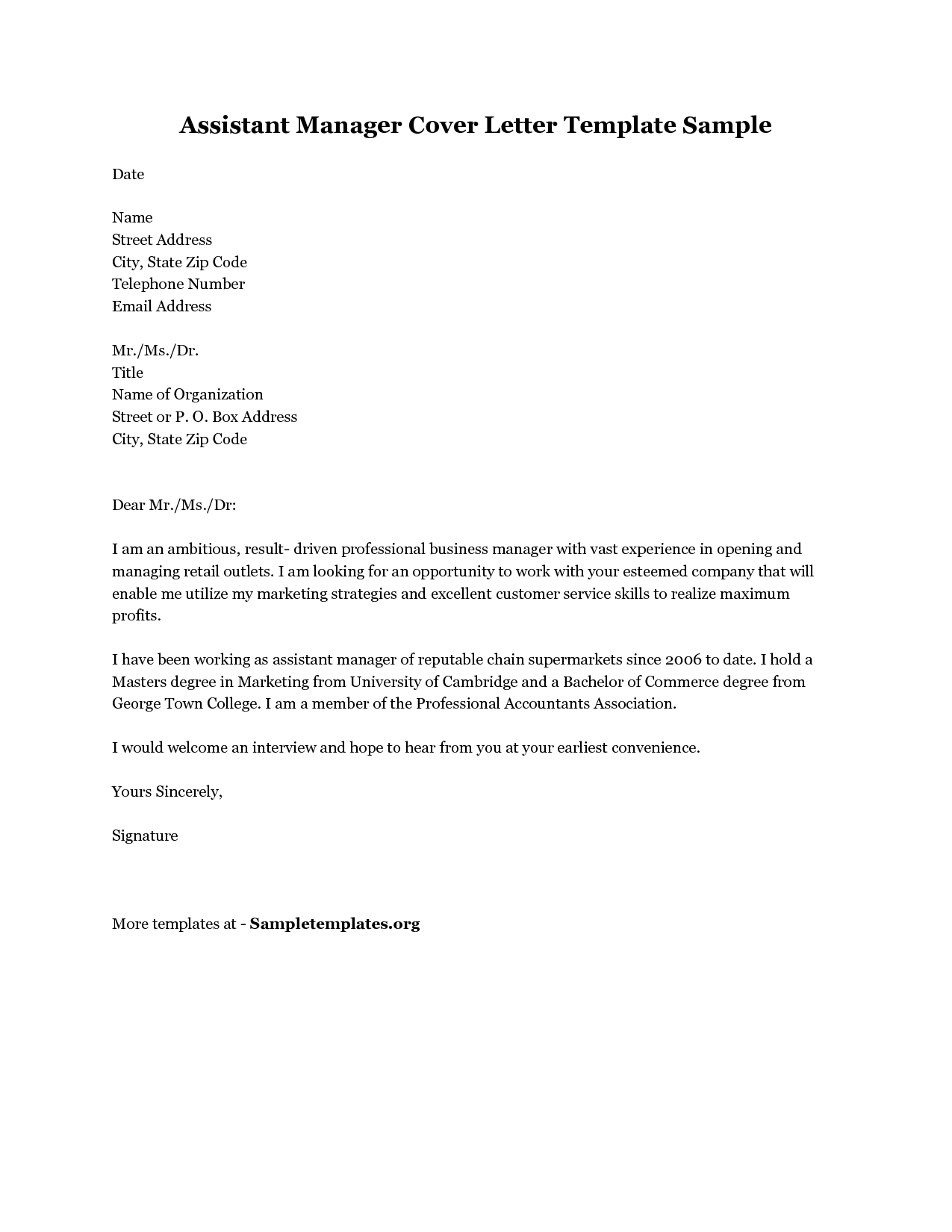 sample cover letter for store manager weekly report example retail ...