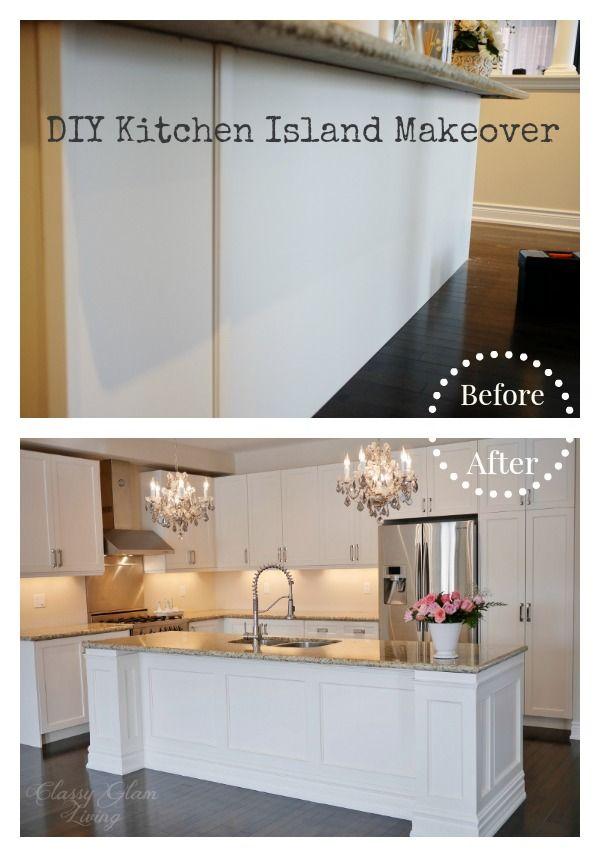 Diy Kitchen Island Makeover Classy Glam Living Kitchen Island Makeover Diy Kitchen Island Kitchen Design Diy