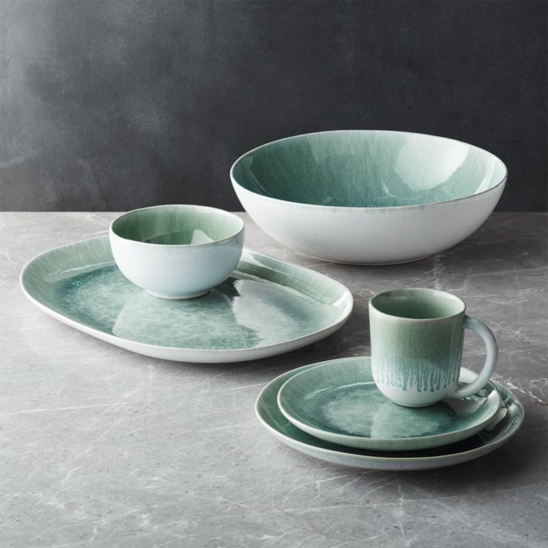 Caspian Aqua Reactive Glaze Salad Plate + Reviews | Crate and Barrel