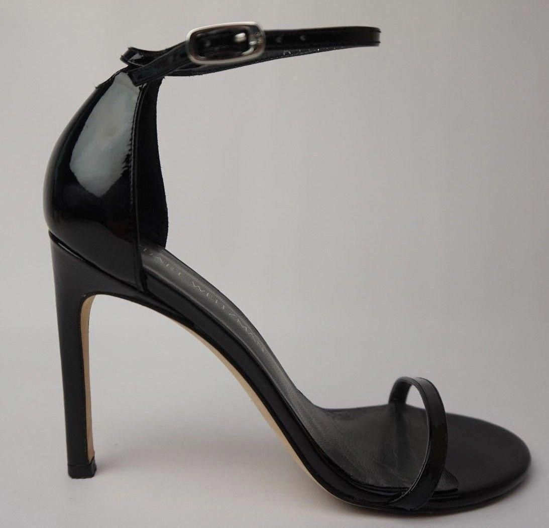 Stuart Ankle Weitzman Nudistsong Ankle Stuart Strap Sandale schwarz Patent Heel Größe ... 5e6bd1
