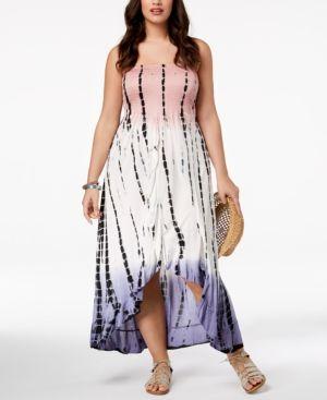 Raviya Plus Size Printed Tube Dress Ruffled Cover-Up - Pink 1X ...
