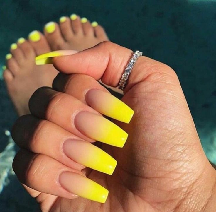 Medium Length Square Shaped Yellow Colored Tipped Nails With