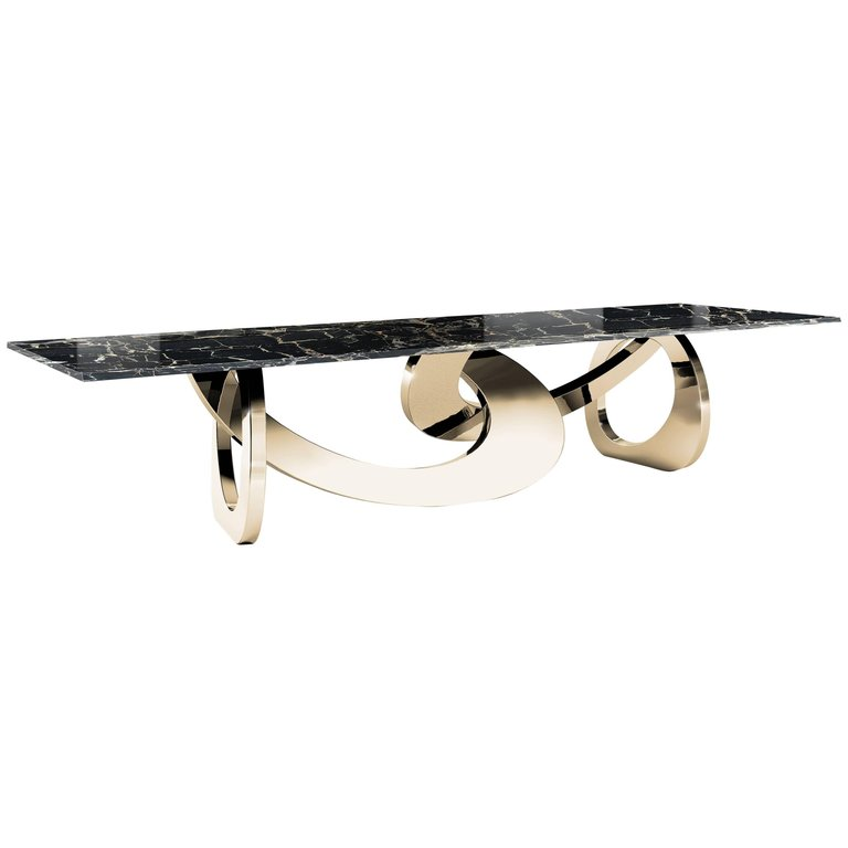 Dining Table Rectangular Black Marble Steel Gold Italian Contemporary Design Dining Table Marble Gold Dining Dining Table Gold
