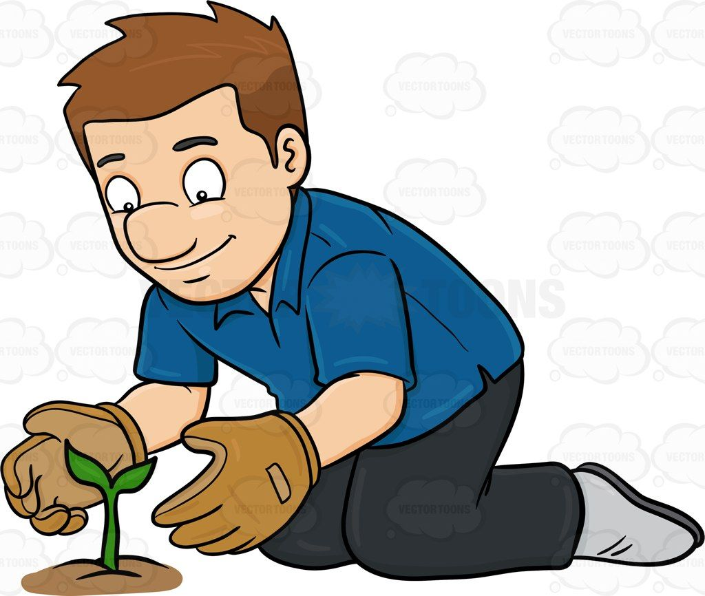 a man taking good care of a growing plant growing plants rh pinterest co uk tree planting clipart clipart planting trees