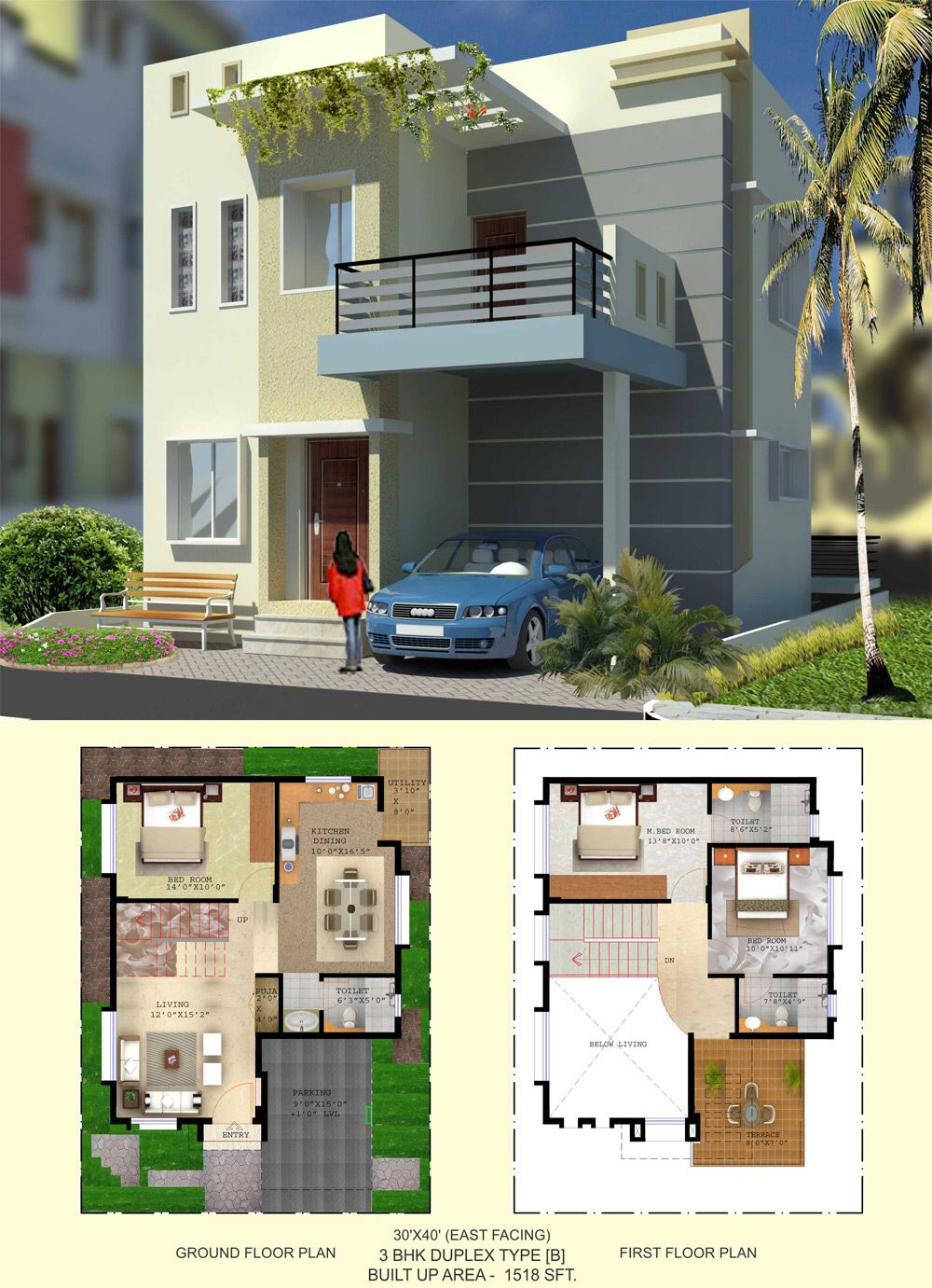 Image from for Duplex house plans 30x40