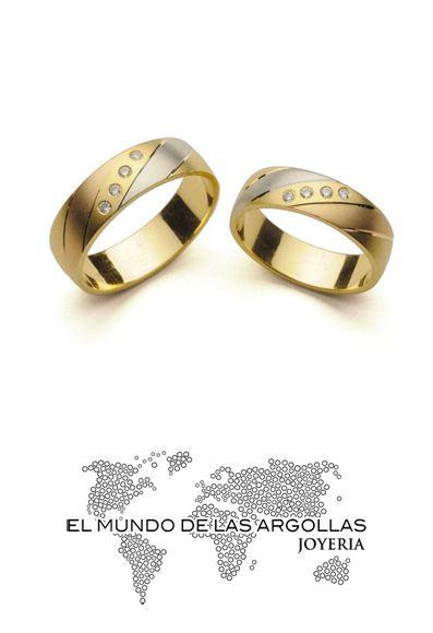 eb5f251b37e2 Modelo  A-F55046M Argolla oro florentino 14k macizo con zirconias en  diagonal 6mm  ArgollasDeMatrimonio