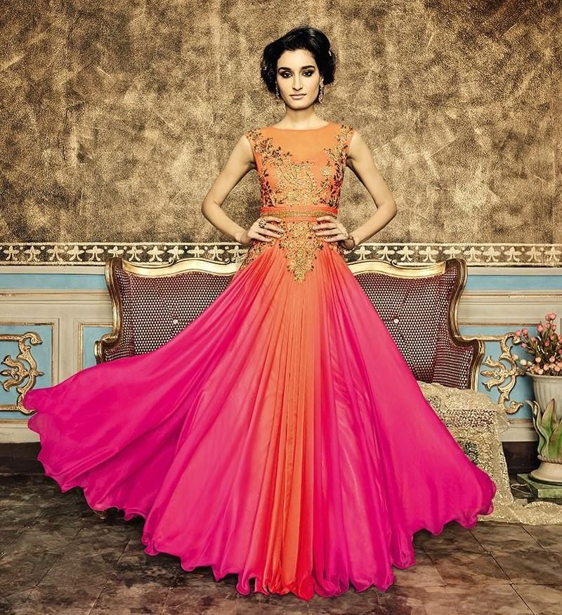Be your own style icon by wearing this stunning orange and pink gown ...