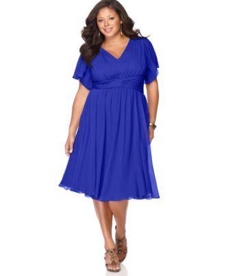 Suzi Chin Plus Size Dress Flutter Sleeve Empire Waist Plus Size