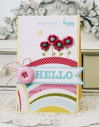 Happy Hello Card by Melissa Phillips for Papertrey Ink (March 2013)
