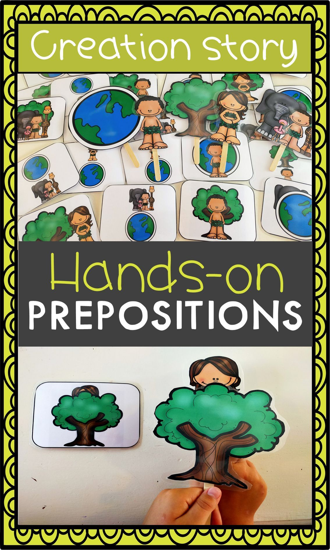 Use this montessori inspired hands-on prepositions of place activity to learn the spatial relationships before, behind, next to, above and below. A fun printable game activity for preschool and kindergarten.