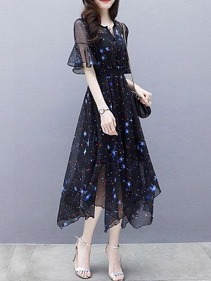 Split Neck  Asymmetric Hem Date Printed Maxi Dress #mittellangeröcke
