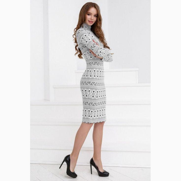 795aa360b8 Tea-length Knitwear Dress with ornaments Nautical Fashion