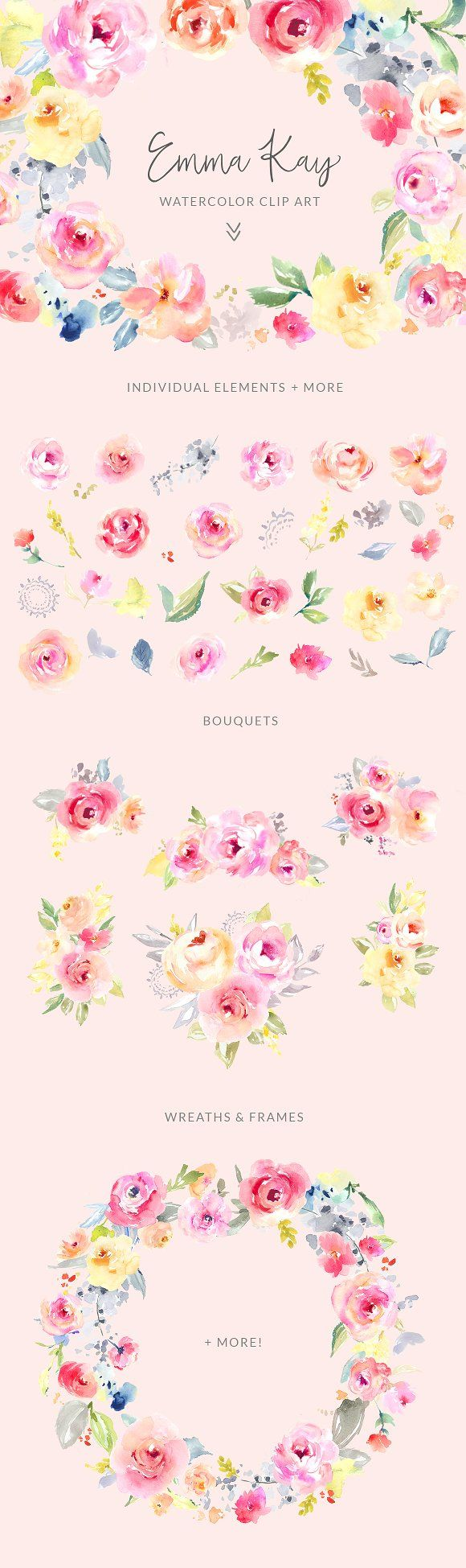Emma Kay Watercolor Clip Art Flower by Angie Makes on @creativemarket