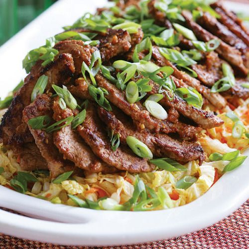 Spicy Korean-Style Pork Medallions with Asian Slaw - FineCooking #finecooking