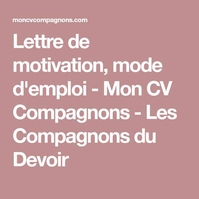 Exemple De Lettre De Motivation Chargé De Projet: Lettre De Motivation, Mode D'emploi
