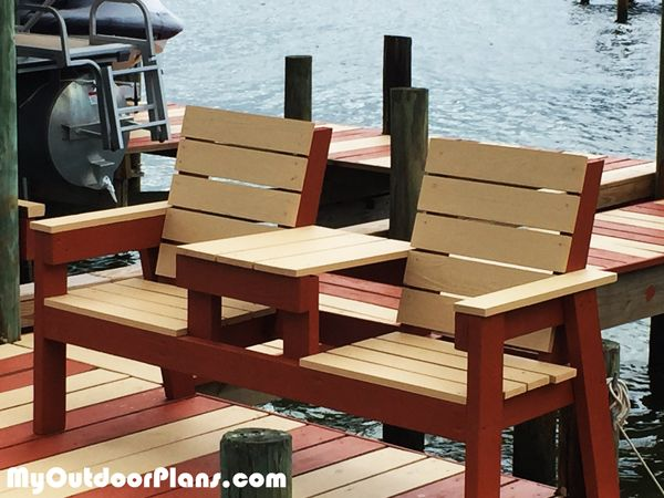 Diy 2x4 Double Chair Bench With Table Myoutdoorplans Free Woodworking Plans And Project Outdoor Furniture Plans Build Outdoor Furniture Diy Patio Furniture