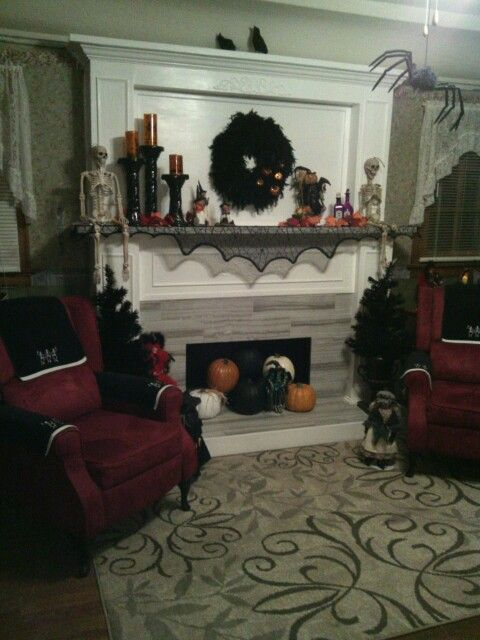 Halloween decor mantle- decorations from Snapdragon Floral  Gifts - halloween decorations com