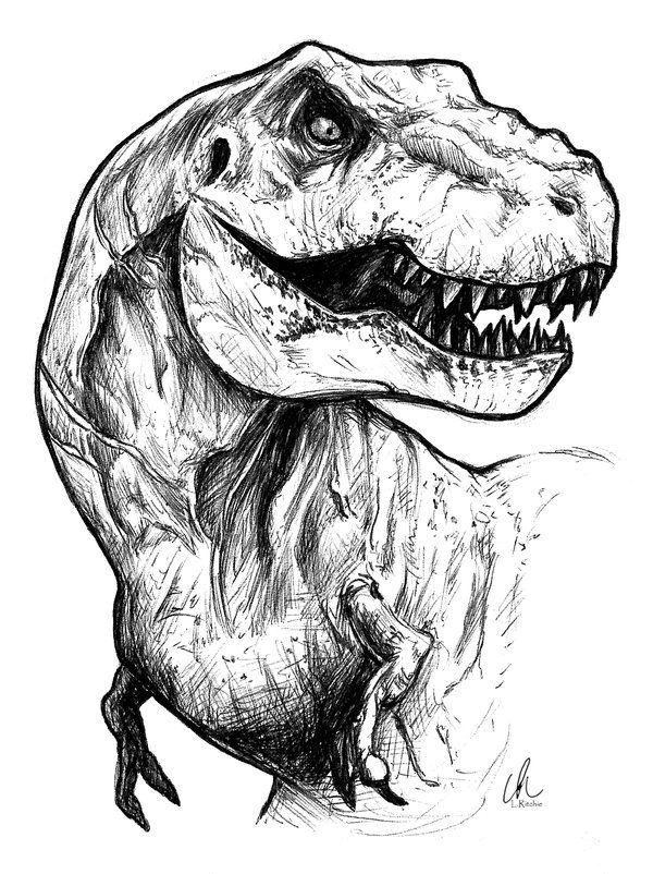 Jurassic World - T-Rex by LRitchieART ... | Dibujos, ilustraciones y ...