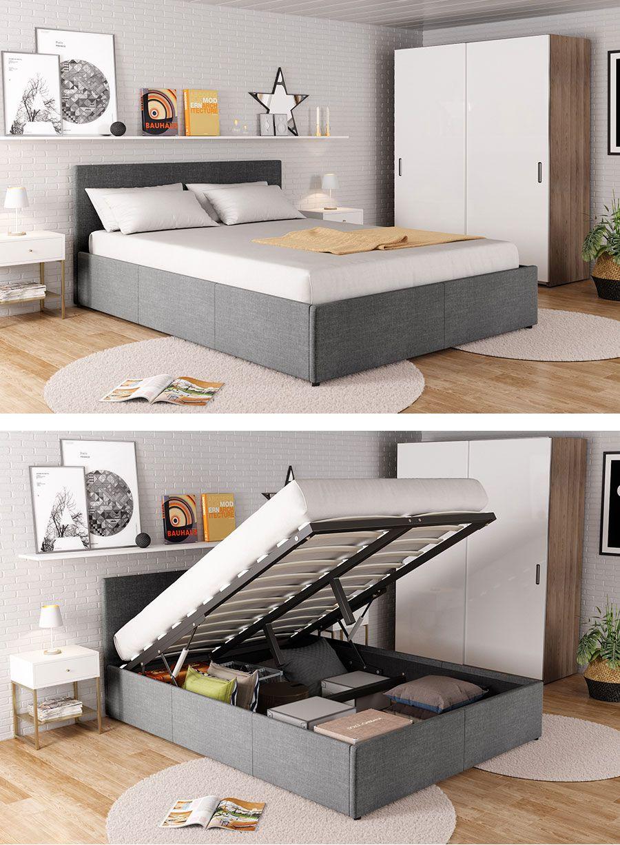 Lit Coffre 140x190 En Tissu Chine Decoracion De La Habitacion Muebles Dormitorios