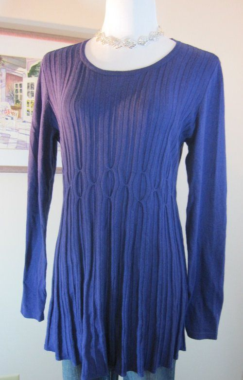 Scoop Neck Mid Thigh Royal Purple Daisey Fuentes Sweater Sz M Pintuck Ribbed Perfect For Professional Office