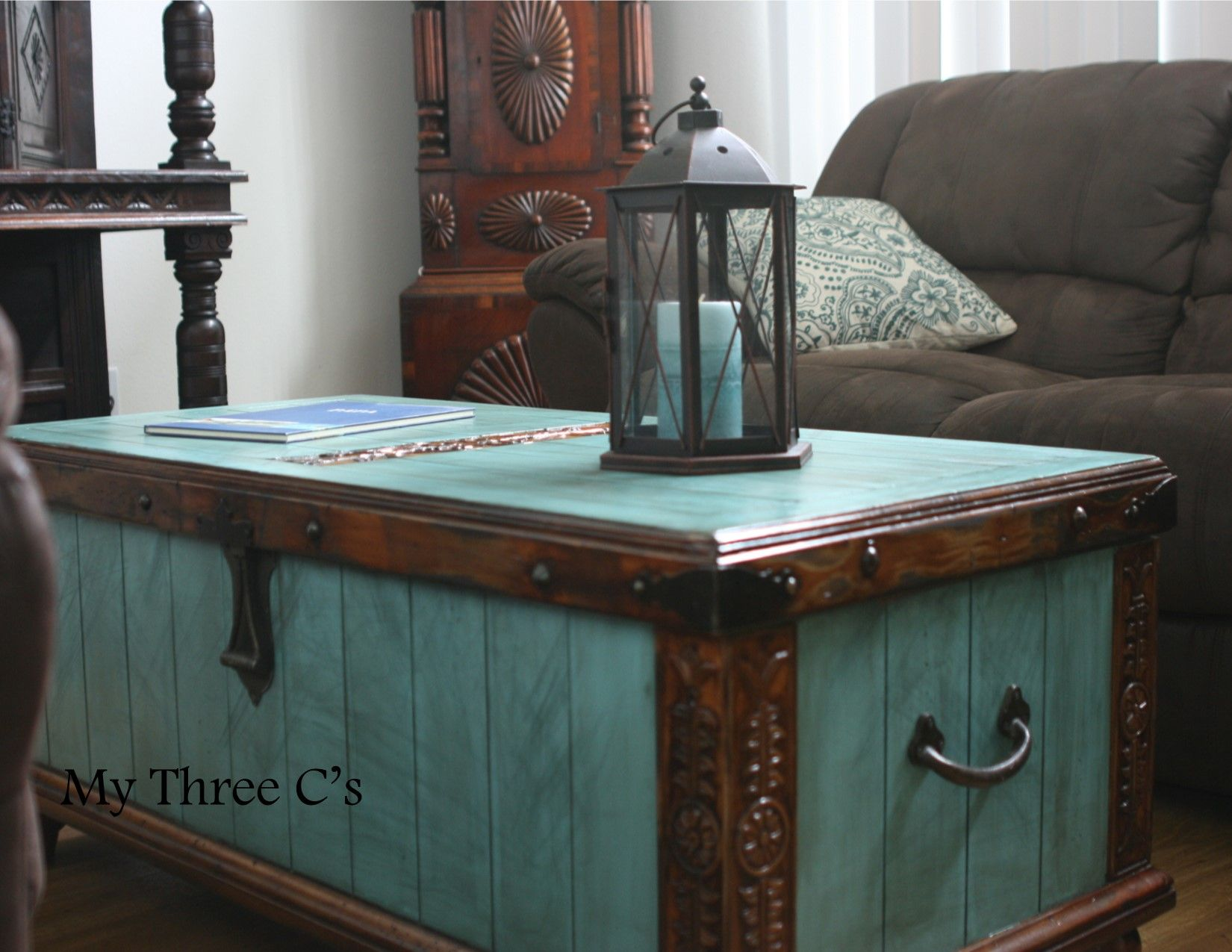 Turquoise and Dark Stain Trunk Distressed and Antiqued