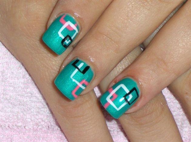 aqua nails with simple square design