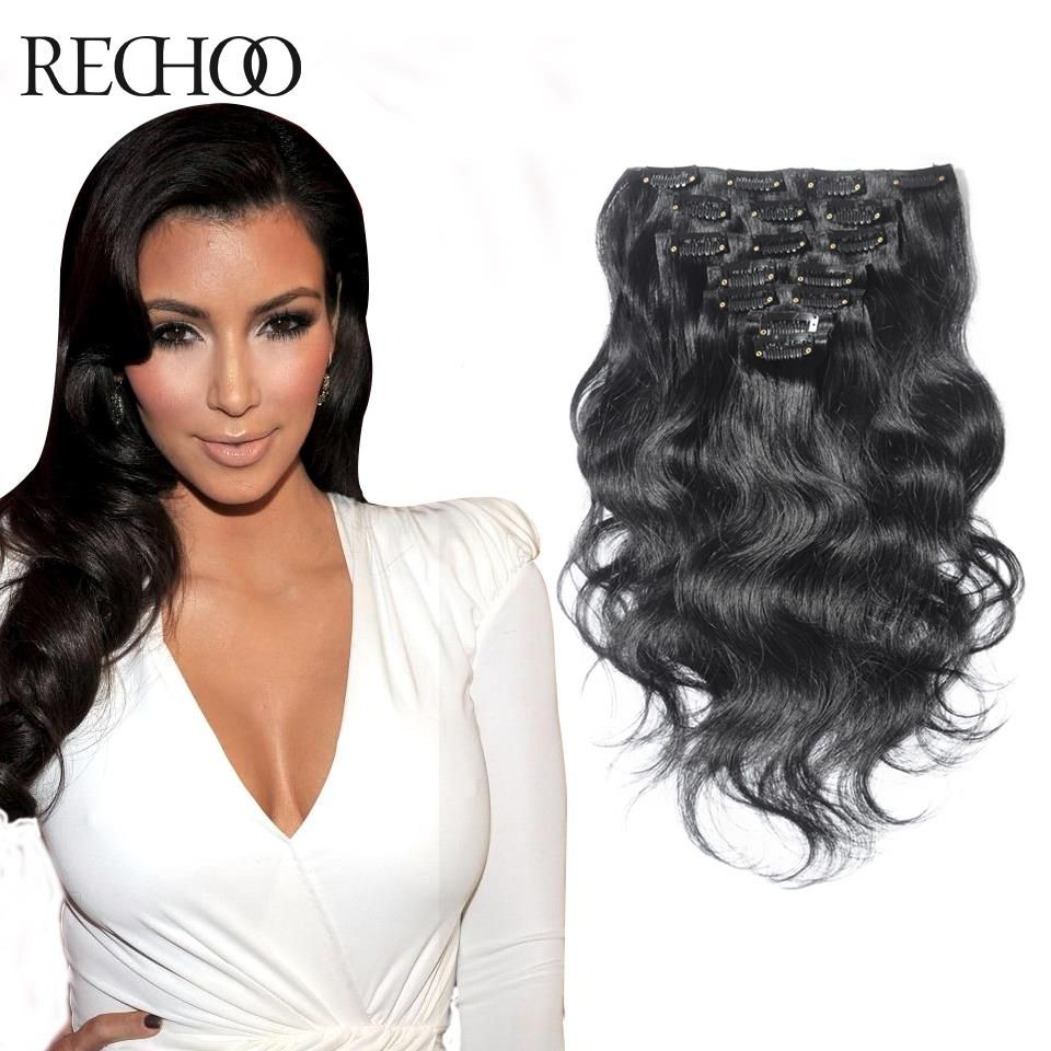 Double Weft Clip In Wavy Human Hair Extensions Black Hair Human Hair