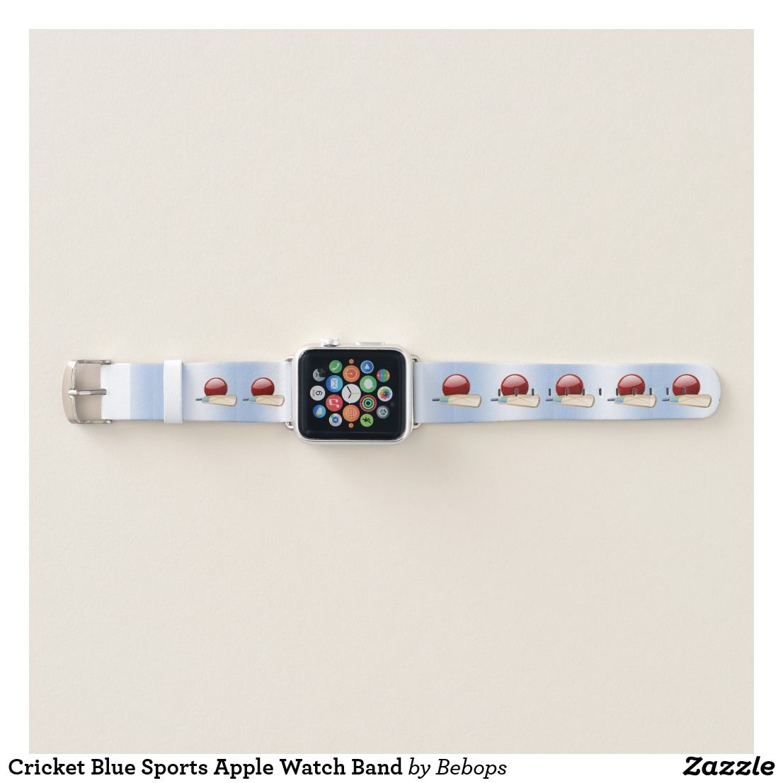 Cricket Blue Sports Apple Watch Band (With