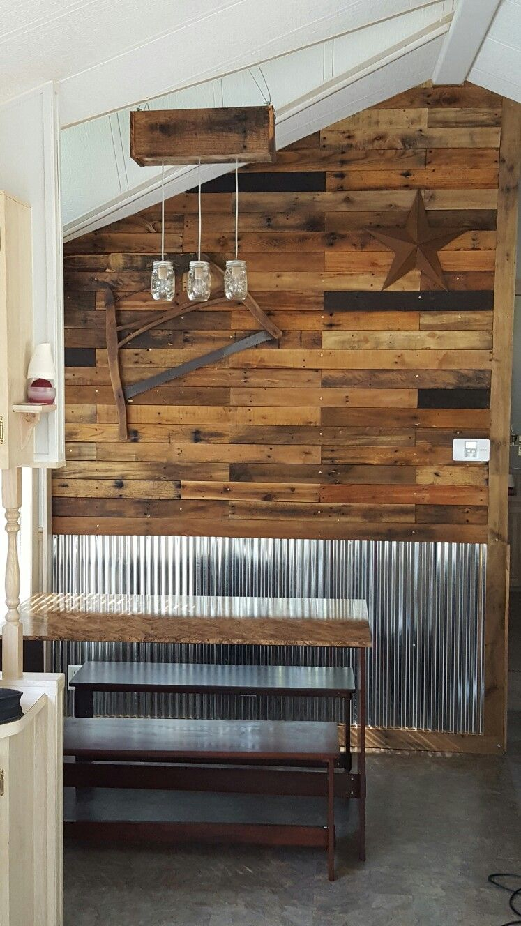 Corrugated Metal Diy Pallet Wall Dining Room