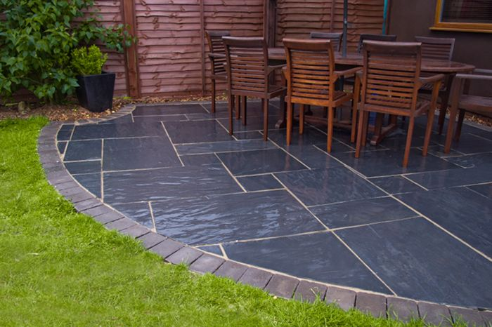 Blue Black Slate Paving Patio Kit By Nustone Slate Patio Patio Stones Patio