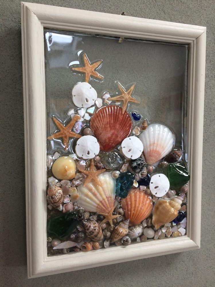 Sea Glass Seashell And Sand Dollar Art Suncather Beach Wall Art Made In The Usa Sand Dollar Art Seashell Art Shell Crafts Diy