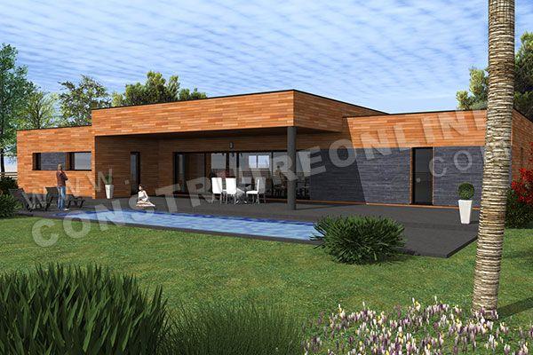 plan de maison plain pied contemporaine SPIN 2 Projet maison - plan maison plain pied 200m2