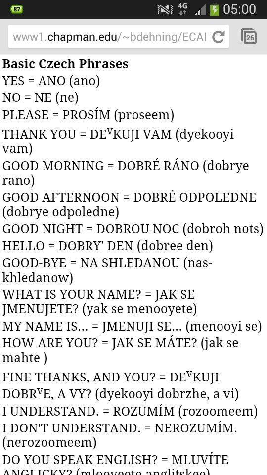 common Czech phrases http://www1.chapman.edu/~bdehning/ECAIS/Basic%20Czech%20Phrases.htm
