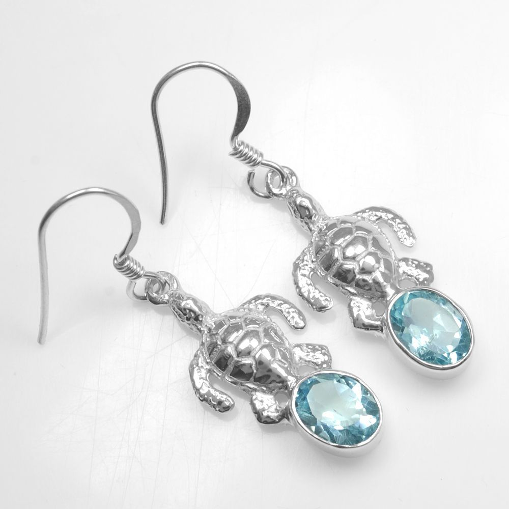Blue topaz earring sterling silver gram tortoise design