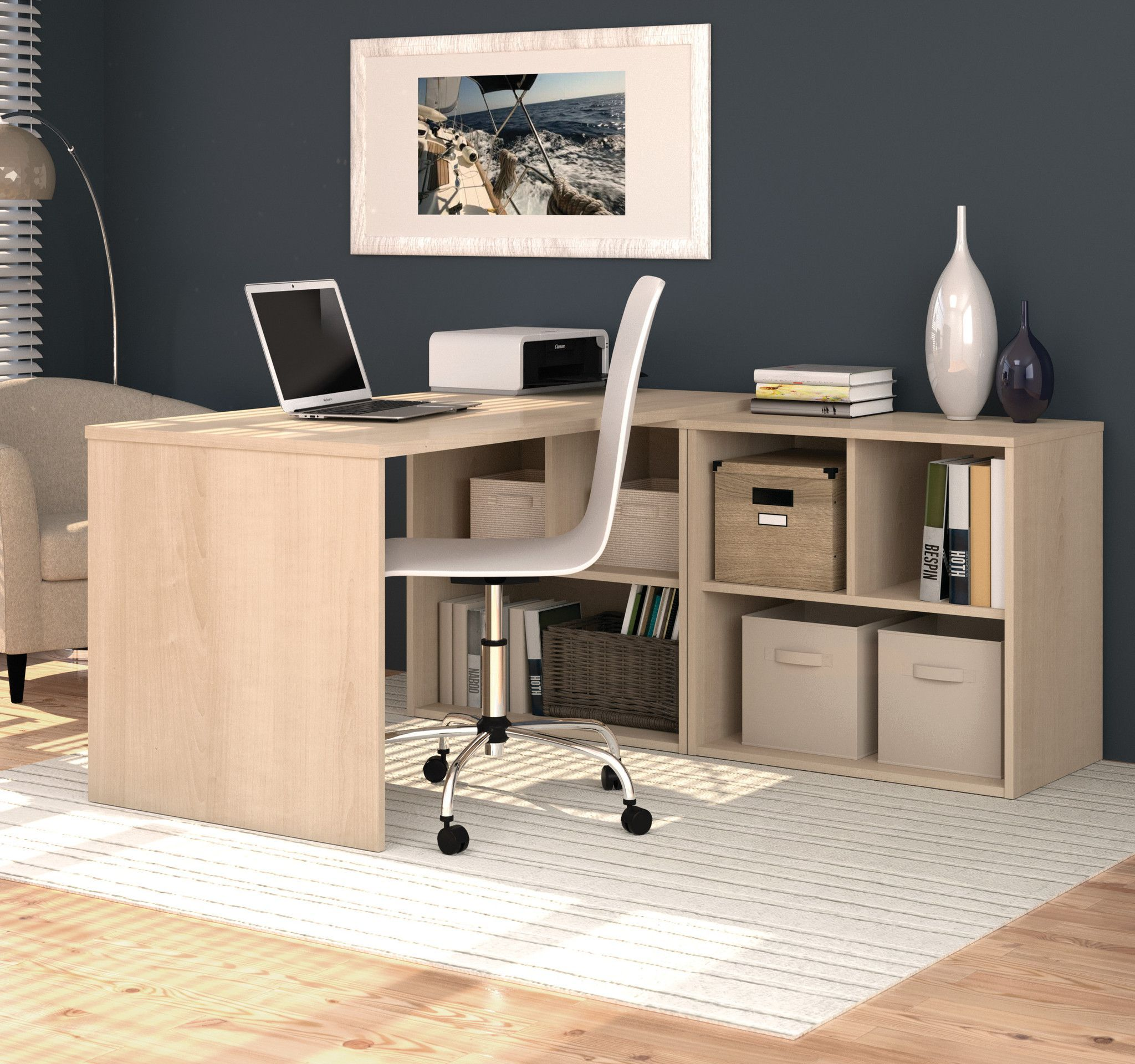 elegant northern maple l shaped office desk with built in storage shelves office ideas. Black Bedroom Furniture Sets. Home Design Ideas