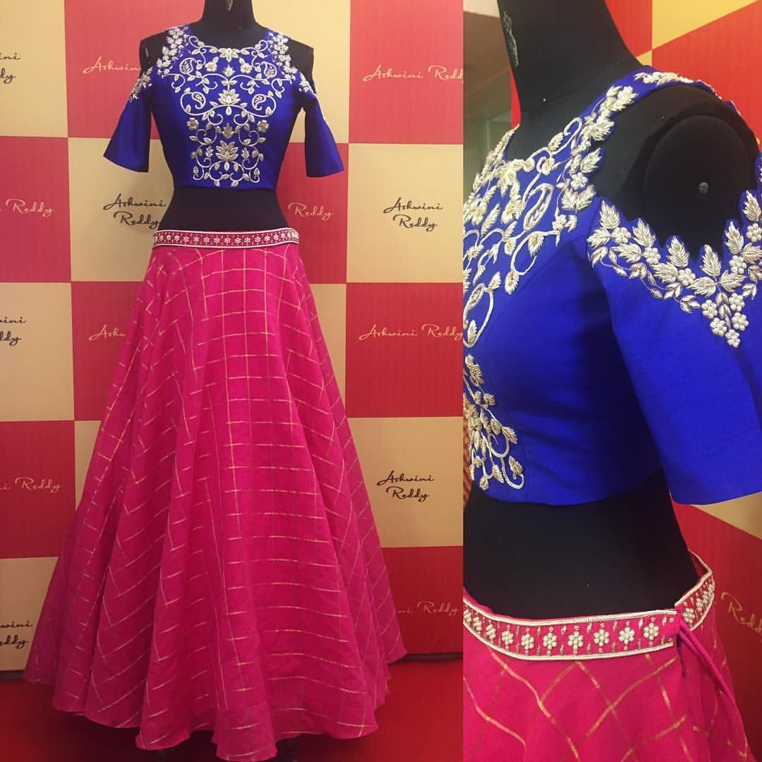 Who Won T Fall In Love With This Combination Ondemand Seasonk Pink Blue Silver Pearl Croptop Skirt Ashwinireddy 11 A S Fashion Pinte