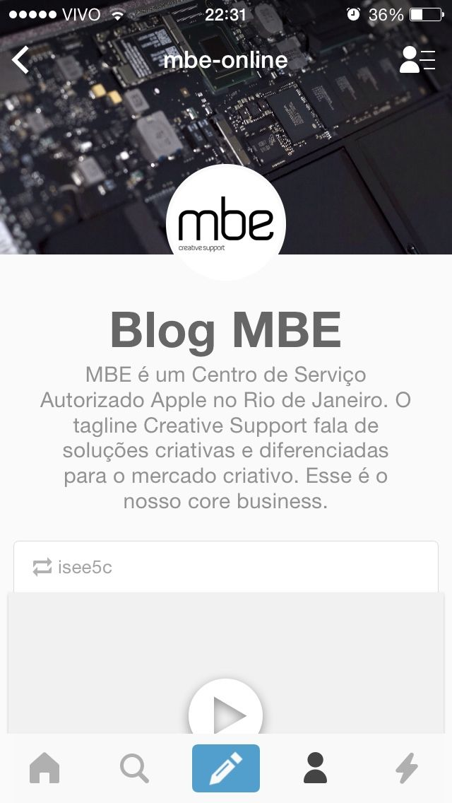 Novo layout mobile do Blog MBE no app do Tumblr para iOS