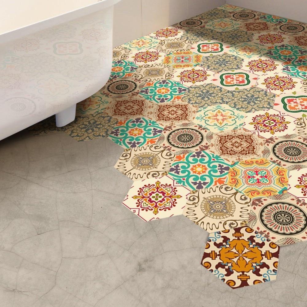 Self Adhesive Tile Art Floor Wall Decals Adhesive Tiles Waterproof Bathroom Flooring Tile Art