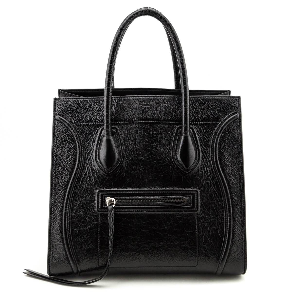 Celine Black Textured Patent Calfskin Medium Phantom Luggage Tote Trending Handbag Trendy Purses Popular Purses