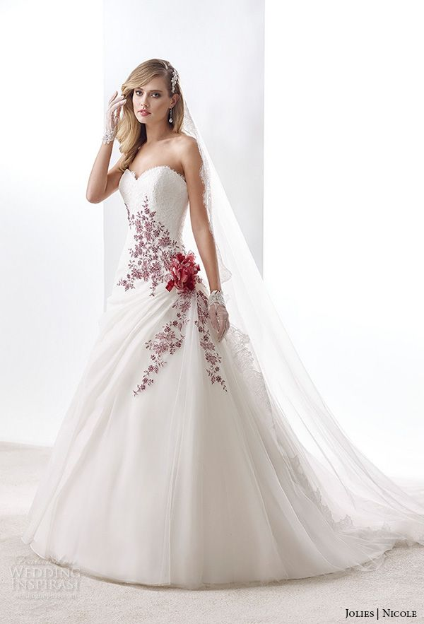 Nicole jolies collection 2016 colored wedding dresses for Wedding dress with color accent
