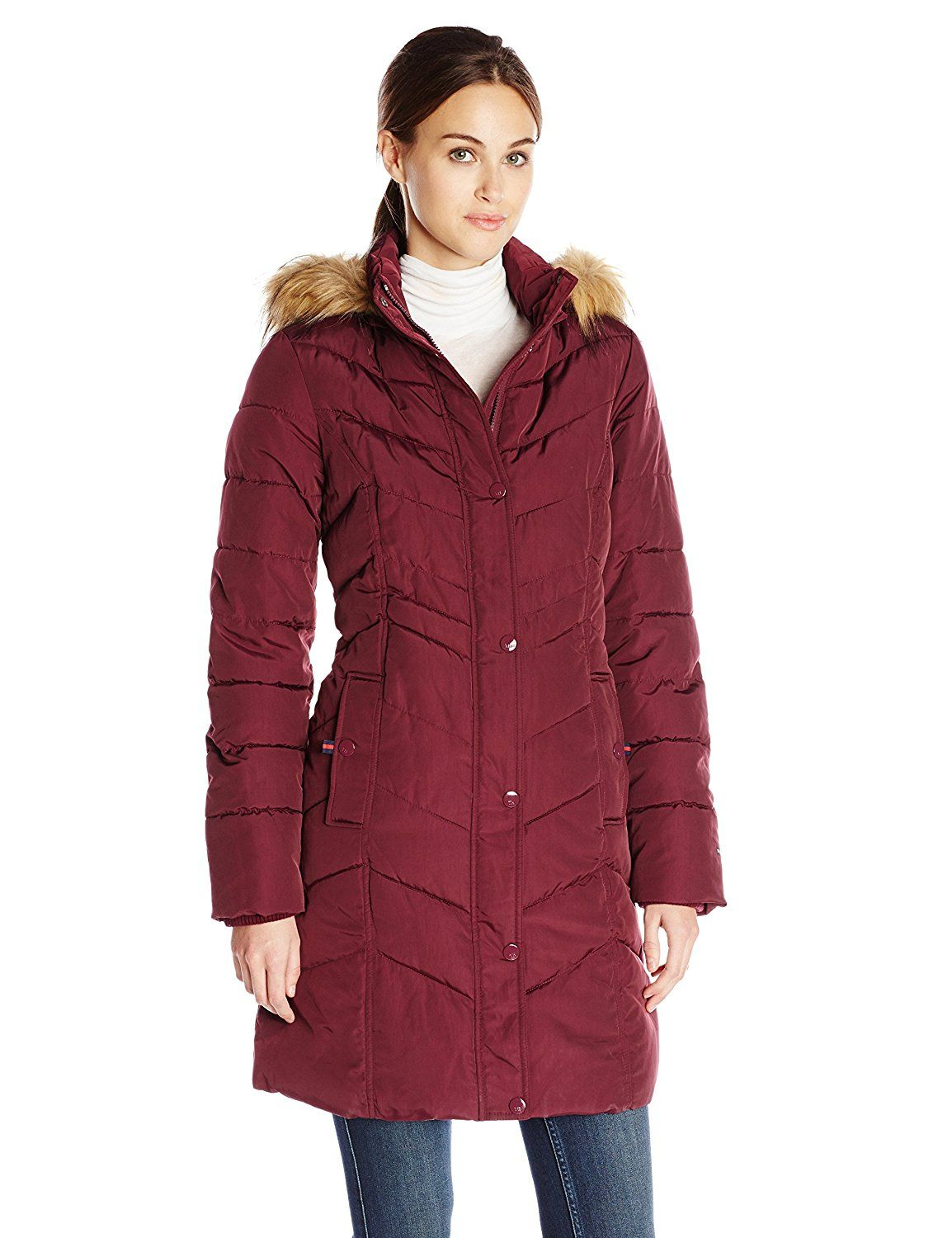 Tommy hilfiger womenus long chevron quilted down alternative coat