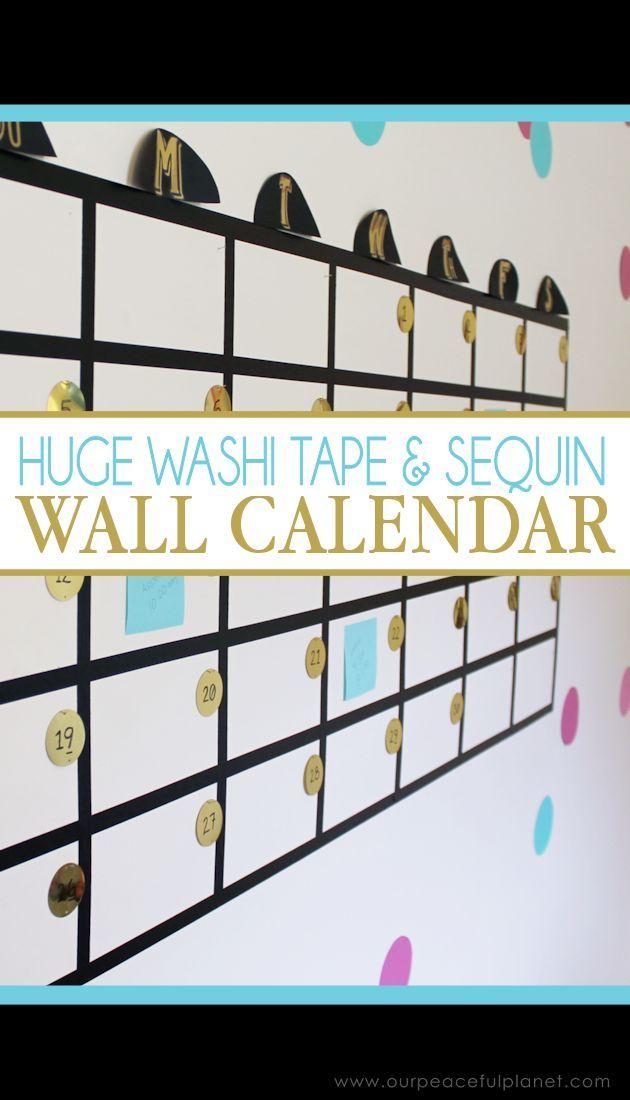 How To Make A Huge Washi Tape PostIt Note Wall Calendar   Washi