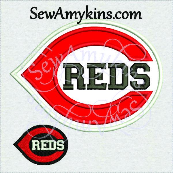 Cincinnati Reds Baseball Logo Applique Fill Stitch Machine