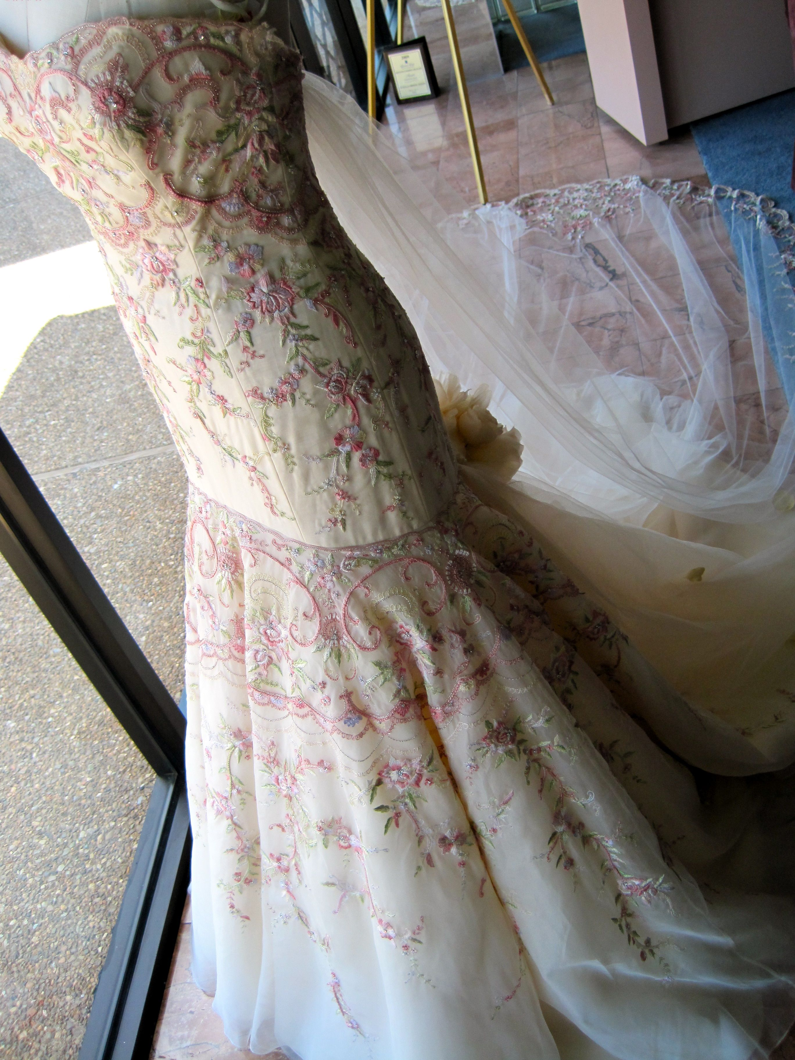 A Splash of Color by Lazaro   Strapless gown, Embroidery and Pink ...