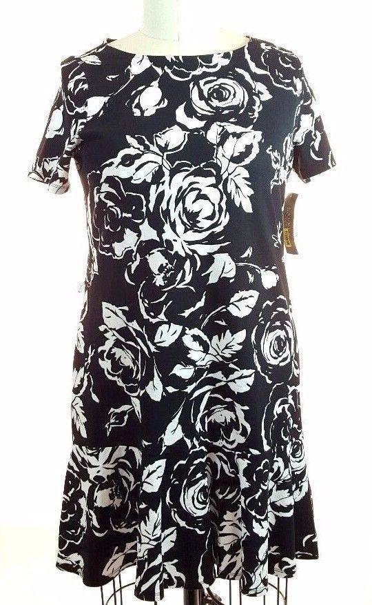 Lauren Ralph Lauren Dress 1X Short Sleeve Black Pearl Floral Dress NWT $160  #RalphLauren #